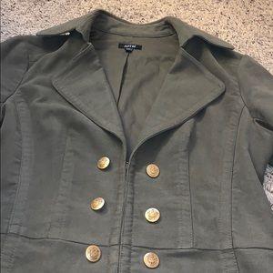 Olive green suede feeling jacket